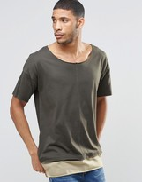 Asos Super Longline T-Shirt With Seam Detail And Boat Neck In Mock Double Layer In Green