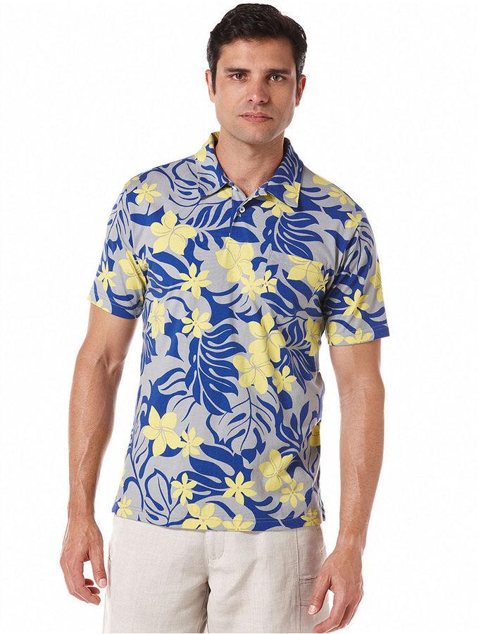 Cubavera Shirt, Short Sleeve Floral Print Knit Polo Shirt