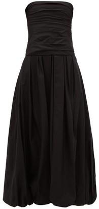 KHAITE Ingrid Ruched Bandeau Puffball Cotton Dress - Black