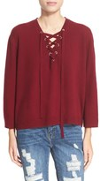 The Kooples Women's Lace-Up Wool & Cashmere Sweater