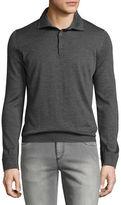 Isaia Cashmere-Silk Long-Sleeve Polo Shirt
