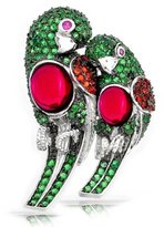 Bling Jewelry Simulated Emerald CZ Parrot Lovebirds Brooch Rhodium Plated