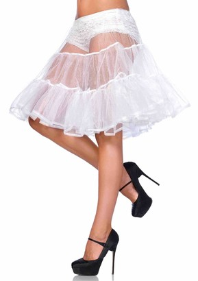 Leg Avenue Women's Shimmer Organza Knee Length Petticoat Skirt