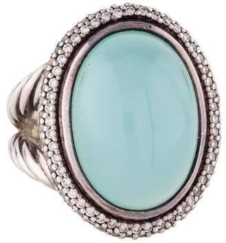 David Yurman Oval Chalcedony & Diamond Ring