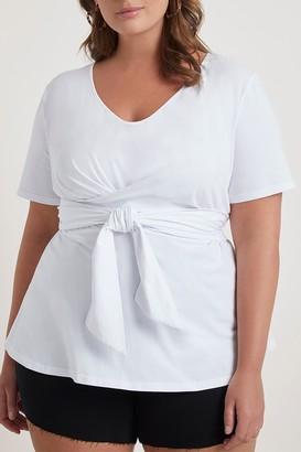 ELOQUII Crossover Tie Waist T-Shirt (Plus Size)