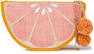 Kayu Pomelo Pompom-embellished Embroidered Straw Pouch