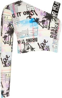 River Island Girls RI Active White printed one sleeve top