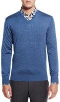 Ermenegildo Zegna Lightweight V-Neck Sweater, Blue