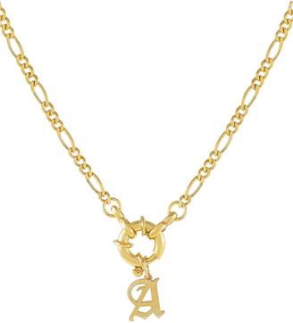 Adina's Jewels Uppercase Old English Initial Figaro Necklace
