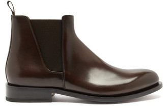 Santoni Almond-toe Leather Chelsea Boots - Dark Brown