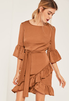 Missguided Brown Ruffle Hem Tie Waist Hammered Satin Dress