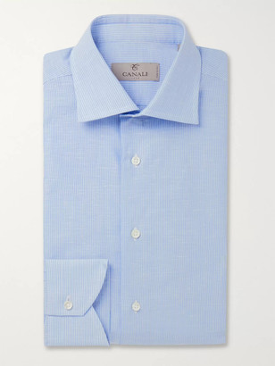 Canali Striped Slub Cotton And Linen-Blend Shirt