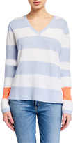 LISA TODD Petite Stripe Hype Lyte V-Neck Cotton Sweater