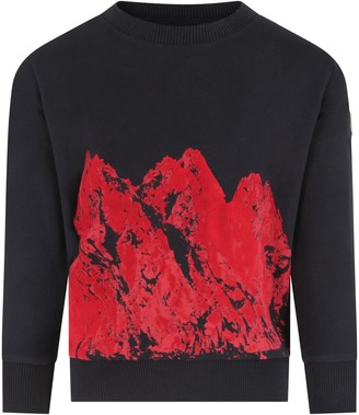 Moncler Blue Sweatshirt For Boy With Red Print
