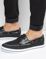 Asos Boat Shoes in Black Canvas