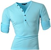 Jeansian Men's Slim Fit Short Sleeves Casual Henleys Shirts D304 LightBlue S