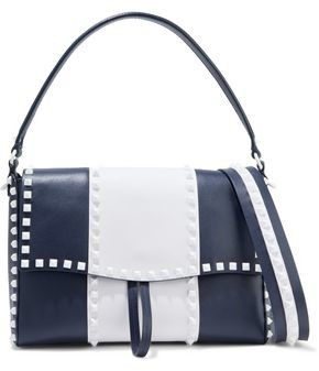 Valentino Free Rockstud Two-tone Textured-leather Shoulder Bag