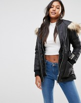 Lipsy Michelle Keegan Loves Quilted Coat With Faux Fur Hood