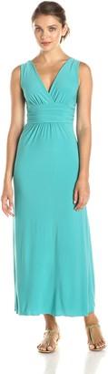 Star Vixen Women's Sleeveless Surplice Maxi Dress with Empire Banded Waist