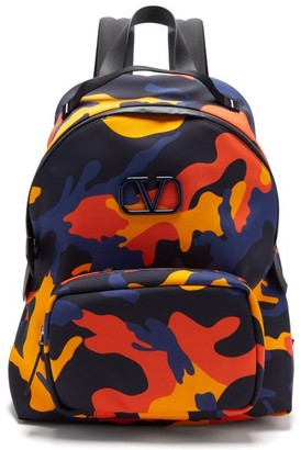 Valentino V-logo Leather-trim Camouflage-print Backpack - Mens - Camouflage