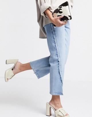 Topshop stitch detail split hem straight leg jeans in bleach