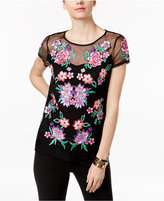 INC International Concepts Embroidered Mesh Top, Only at Macy's