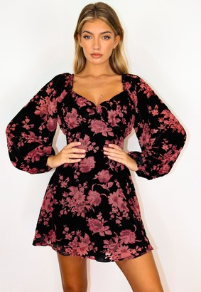 Missguided Black Floral Devore Milkmaid Skater Dress