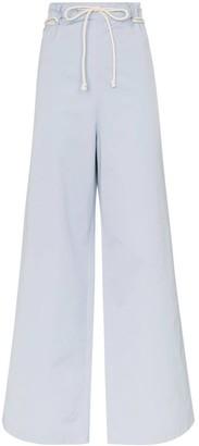Ambush rope-fastening wide-leg cotton trousers