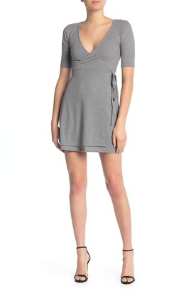 Velvet Torch Faux Rib Knit Wrap Dress