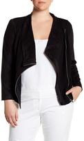 Vince Camuto Faux Suede & Ponte Moto Jacket (Plus Size)