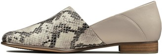 Clarks Pure Tone Leather Flat Shoe - Grey Snake