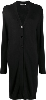 Jil Sander Long Button-Up Wool Cardigan