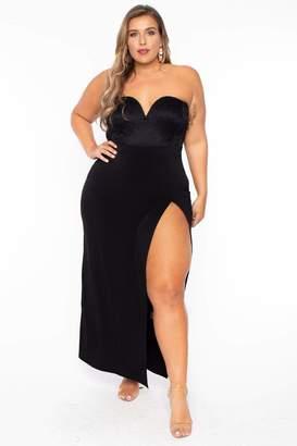 Curvy Sense Strapless Lace Top Dress in Black Size 1X