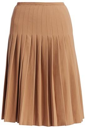 Michael Kors Pleated Wool Midi Skirt
