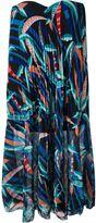 MSGM strapless printed pleated dress