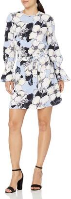 Ellen Tracy Women's Petite Cloque Belted Shift Dress