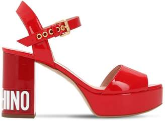 Moschino 90mm Logo Patent Leather Sandals