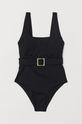 H&M Ribbed Belted Swimsuit