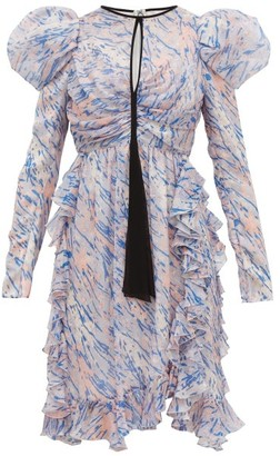 Giambattista Valli Watercolour-print Puff-sleeve Silk Mini Dress - Blue Multi