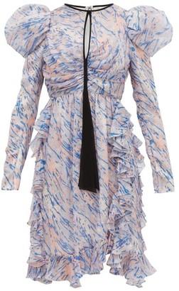 Giambattista Valli Watercolour-print Puff-sleeve Silk Mini Dress - Womens - Blue Multi