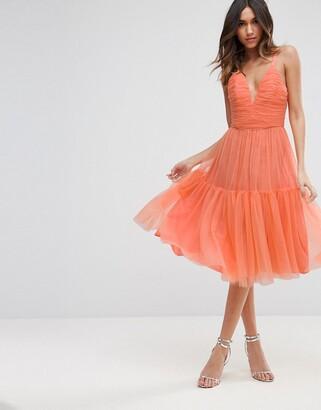 Asos Design Tulle Midi Prom Dress-Orange