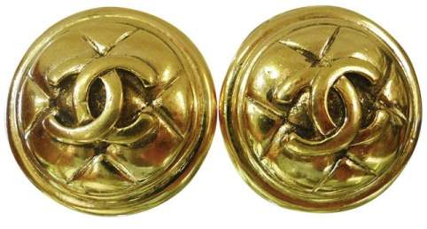 Chanel Yellow Gold Tone Metal CC Logos Button Clip-On France Earrings