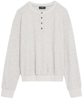 Theory Weekend Waffle Knit Henley Pullover