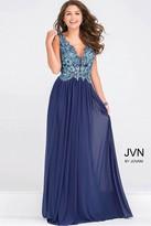 Jovani Embroidery Bodice Plunging Neckline Dress JVN47781