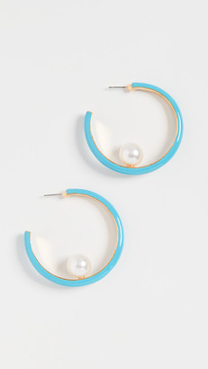 Kenneth Jay Lane Small Enamel Hoops