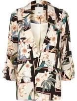 River Island Womens Black floral print tie cuff blazer