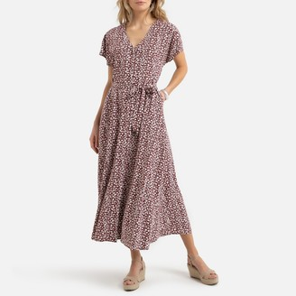 Anne Weyburn Flared Maxi Dress in Floral Print with Short Sleeves and Pockets