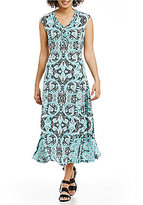 Allison Daley V-Neck Fit & Flare Midi Dress
