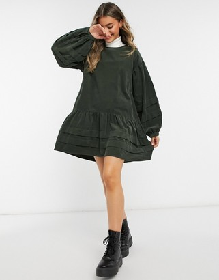 ASOS DESIGN cord mini pleat detailed smock in green