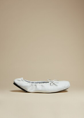 KHAITE The Ashland Ballet Flat in White Leather